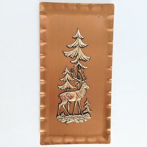 Vintage Copper Reindeer Pine Tree Tray Decor
